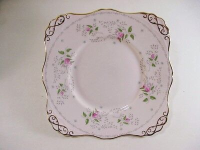 TUSCAN BONE CHINA, ENGLAND: PAIR OF SQUARE LUNCHEON PLATES PINK / GOLD 1940's