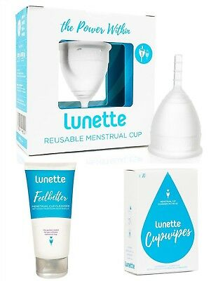Lunette Menstrual Cup CLEAR Size 1 Bundle Value Pack Wipes & Feelbetter Cleanser