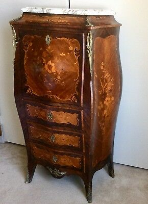 Antique Bombe Form Drop Leaf French Secretary Writing Desk Marquetry Decorated