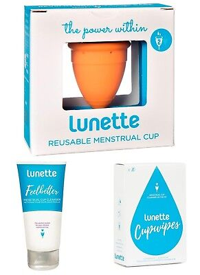 Lunette Menstrual Cup CORAL Size 2 Bundle Value Pack Wipes & Feelbetter Cleanser