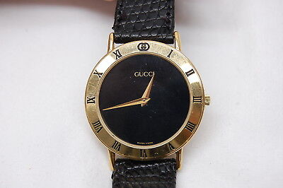 924c2550011 Gucci 3000M Swiss Made Men s Gold Plated Luxury 33mm Quartz Watch - New  Battery