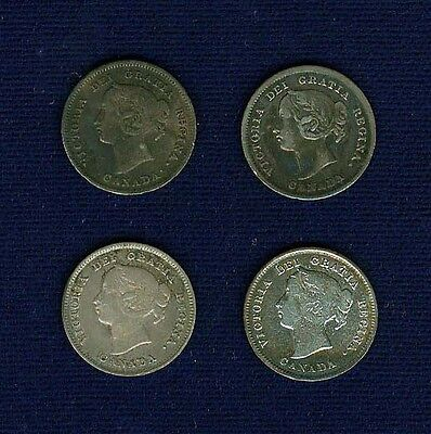Canada  Victoria   1893, 1896, 1898, & 1901  5 Cents Silver Coins, Lot Of (4)!