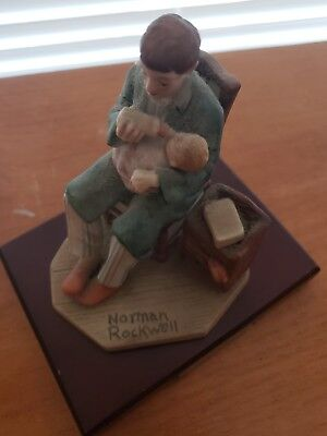 Vintage Norman Rockwell Midnight Feeding Figurine With Wooden Base Exc Condition
