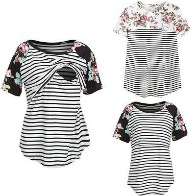 Women Maternity Breastfeeding Tops Short Sleeve Nursing T-shirt Flower Striped
