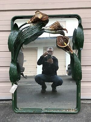 Beautiful Art Deco Mirror With Tole Tulips