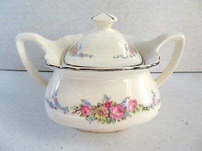 Rare Vintage W.S. George Lido White Porcelain Covered Sugar Bowl #155A