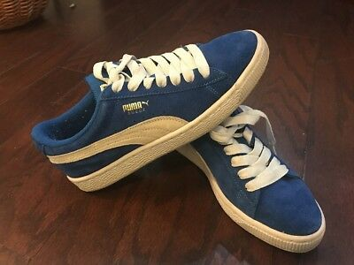 Puma Kids Suede PS Sneaker, Blue With White Stripe Big Boy's SIze 5.5