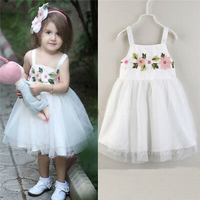 UK Kids Baby Girl Dress Sleeveless Tulle Party Dress Casual Sundress Clothes