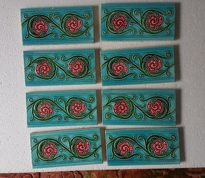 "VINTAGE 3""X 6"" FLOWER Ceramic Tiles Architectural DECOR 8 PCS FLOWER  JAPAN"