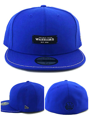 9276266b Golden State Warriors New Era 59Fifty Black Label Blue White Fitted Hat 7  1/2