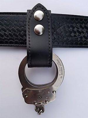 Plain Leather Handcuffs Strap Holder, Fits 2 1/4'' Duty Belt (Silver Snaps)
