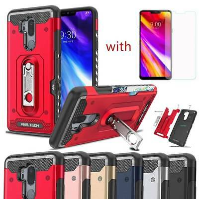 For LG G7 ThinQ Shockproof Rugged Card Slot Armor Stand Hard Case+Tempered Glass