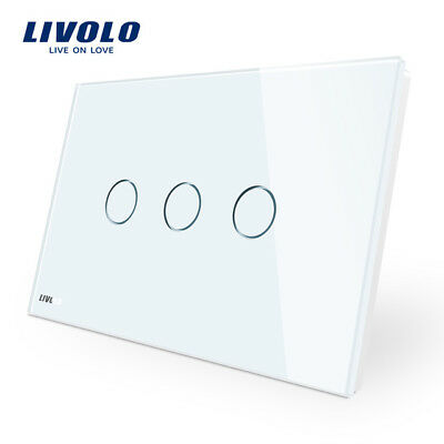 Livolo Wall Switch 3 gang AU Standard Touch Screen Control Wall Light 110~220V