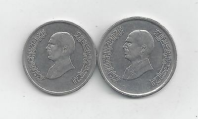 2 DIFFERENT COINS from JORDAN - 5 & 10 PIASTRES (BOTH DATING 1996)