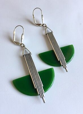Vintage Large Art Deco 'odeonesque' Racing Green  French Bakelite Earrings