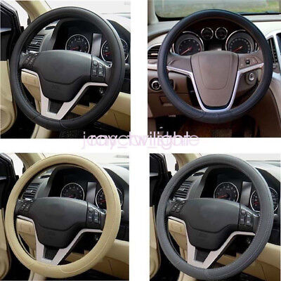 """38CM/15"""" Black Streamlined  Comfy PU Leather Automobile Steering Wheel Cover"""