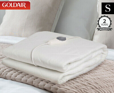Goldair Fitted Single Bed Electric Blanket w/ Mattress Protector - White