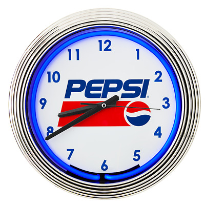 "15"" Retro Style Pepsi Blue Neon Tube Clock - Includes Power Cord And Battery!"