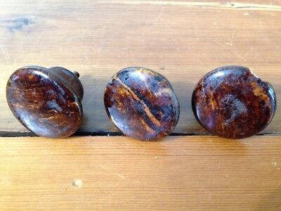 Lot 3 Vtg Antique Brown Marble Bennington Swirl Ceramic Drawer Pulls Knobs 3.5cm
