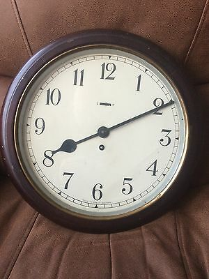 "Antique 15"" Mahogany - Brass Military Wall Clock.     MILITARIA.      YORK ??"
