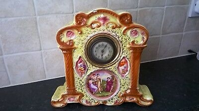 Antique Ceramic Mantel Clock Hand Painted By Angelica Kauffman Date 18th Century