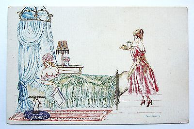 A/S Manni Grosze Risque LADY in BED & Her Maid Unused Scarce Postcard