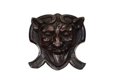 French Antique Hand Carved Oak Wood Figural Pediment Demon Head
