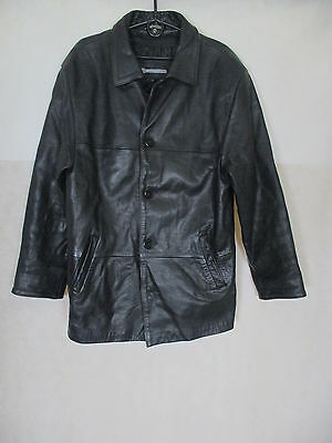 Marbet Vintage Real Leather Thick Heavy Black Jacket. Size Tag: L - 47''/120cm