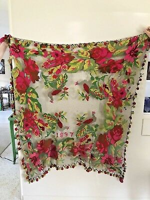 Antique Vintage FILET NET LACE 1897 Coverlet Wool Embroidery Roses Birds Quail