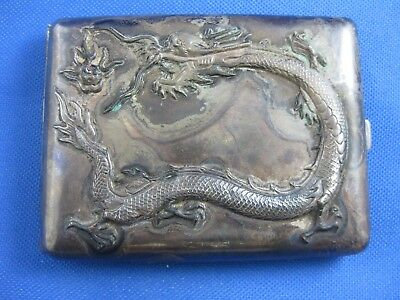 Rare Chinese Asian Oriental Dragon Silver Cigarette Card Case Box With Hallmarks