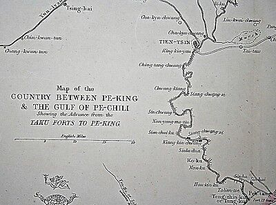Great Original China Map of Advance on Peking, 2nd Opium War 1860. E.Weller