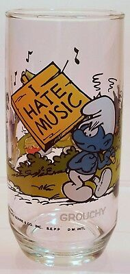Smurf Glass Hardees 1982 Peyo Wallace Berrie & Co. - Grouchy Smurf