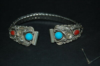 Vintage USA STC Sterling Silver Turquoise & Corral Watch Band