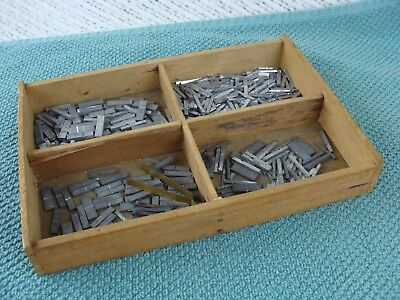 Antique Wood Printer's Typeset Tray Drawer Divided Box & Type Unusual Small Size