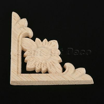 Vintage Flower Decal Woodcarving Onlay Carved Corner Applique Bookcase Decor DIY
