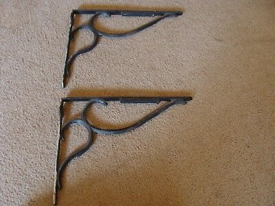 """TWO 15"""" Antique Large Cast Iron Shelf Brackets Industrial Outdoor Garden Old"""