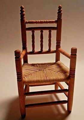 Beautiful Turned Wood Rush Seat Artist Made Miniature Dollhouse Chair