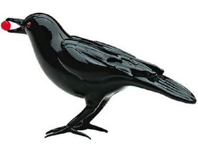 Art Glass Black Crow With Berry