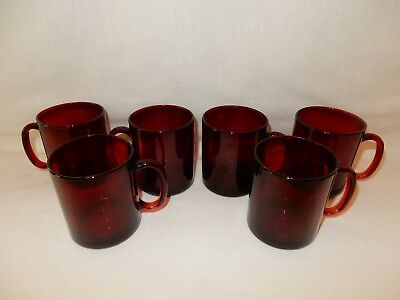 Set of 6 Ruby Red Glass Coffee Tea Punch Cups Mugs Arcoroc France