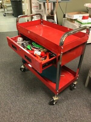 Industrial Heavy Duty Red Wheeled, One Drawer Tool Chest