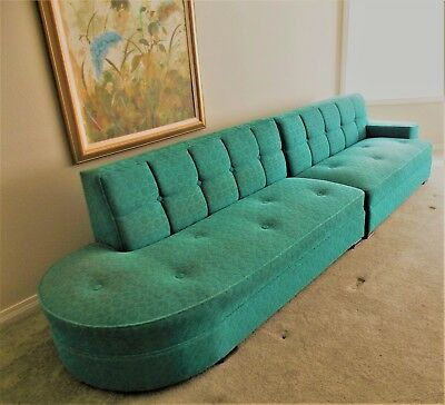 Vintage Mid Century Sectional Couch Sofa 2-Pieces