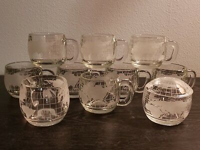 Nestle Nescafe World Globe Vintage Glass Creamer & Sugar & Coffee Mugs Set of 10