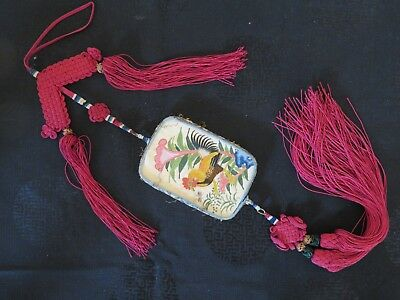 Nice Cantonese Embroidery Hanging Mirror and Case Rare Collector