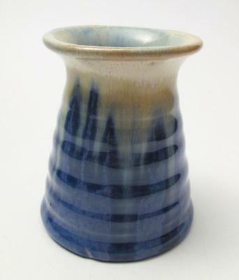 Remued Australian Pottery Drip Glaze Ribbed Conical Inkwell Shaped Vase #33