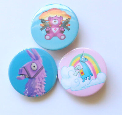 Set of 3 FORTNITE BADGES Game Pin Button PARTY FAVOUR Llama Brite Teddy Unicorn