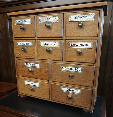 Chemist Drawers C1880, Victorian Pine 10 Bank, Apothecary Drawers
