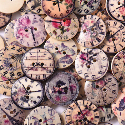50X Mixed Wooden Round Buttons Vintage Clock 20mm Sewing Scrapbooking DIY Decor
