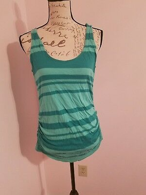 A Pea In the Pod Top Womens SZ M Sleeveless Tank Striped Side Ruche Green White