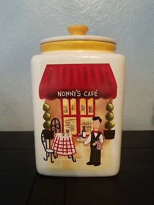 Vintage Nonni's Biscotti Cookie Jar Canister With Lid