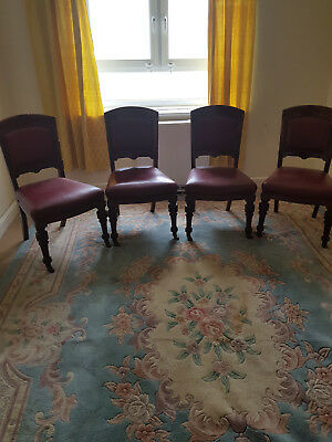 Set of four Victorian Mahogany, Leather dining chairs